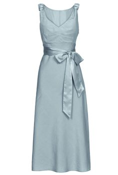duck egg linen dress with silk ribbon tie #pearllang #beBritish
