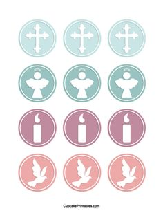 Christening cupcake toppers. Use the circles for cupcakes, party favor tags, and more. Free printable PDF download at http://cupcakeprintables.com/toppers/christening-cupcake-toppers/