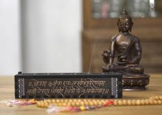 Incense stick burner box Hand painted Gauatri mantra от Vajrasign