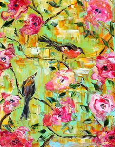 Original oil Birds and Flowers palette knife by Karensfineart