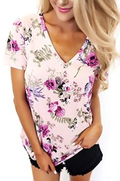 Lovezesent Women's Short Sleeve V-Neck Floral Print Blouses T-Shirt X-Large Purple  Special Offer: $14.99  133 Reviews Lovezesent Women's Short Sleeve V-Neck Floral Print Blouses T-Shirt PLS Read the Size Reference From the Description Carefully. Any Problem,plz feel free...