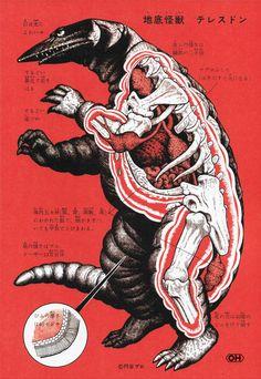 """Shoji Ohtomo - """"Kaiju Zukan"""" (Monster Picture Book) Page 81, Subterranean Telesdon"""
