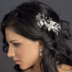 Delicate Silver Floral Rhinestone Bridal Hair Comb - from T's Studio Jewelry
