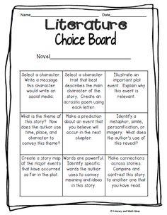 Literacy & Math Ideas: Free Literature Choice Board
