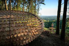 Shingle covered pavilion by Giles Miller, Surrey - UK