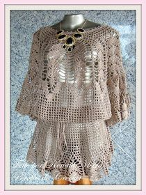 * Pérolas do Crochet: Blusa de Croche Leaves com brilho