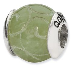 Sterling Silver Reflections Etched Jade Stone Bead