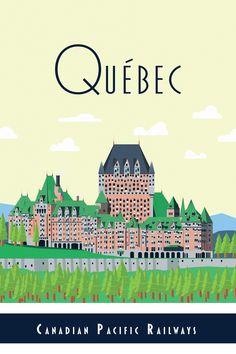 Quebec Travel Poster. illustration by Chris Schneider