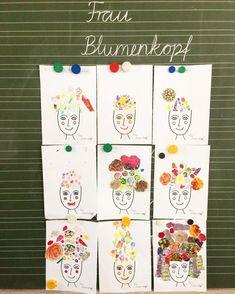Partnerarbeit im Kunstunterricht  Nach der Betrachtung verschiedener Blüten gestalten die Kinder im Team Frau Blumenkopf einen Kopfschmuck. Es darf gemalt oder aus Werbeblättchen ausgeschnitten werden.  Idee von Pinterest  #kunstunterricht #teamwork #becreative #blumenschmuck #zweiteklasse #grundschule #elementaryschool