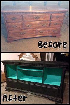 Old dresser into an entertainment center? Awe-some!