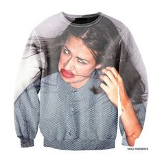 Miranda Sings Sweater ❤ liked on Polyvore featuring tops, sweaters, blue top and blue sweater