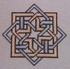 Celtic Squared Knots complete Counted Cross Stitch Kit worked on 18 count Aida with stranded cottons. by MoulinDesigns on Etsy Celtic Cross Stitch, Cross Stitch Borders, Simple Cross Stitch, Cross Stitch Kits, Cross Stitch Charts, Cross Stitch Designs, Cross Stitching, Cross Stitch Patterns, Blackwork Embroidery