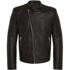RADDAR7 - Motorbike Leather Bomber Jacket ($475) ❤ liked on Polyvore featuring men's fashion, men's clothing, men's outerwear, men's jackets, mens leather bomber jacket, mens leather motorcycle jackets, mens leather jackets, mens leather moto jacket and mens leather biker jacket