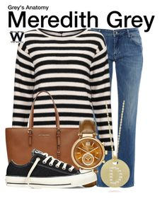 """Grey's Anatomy"" by wearwhatyouwatch ❤ liked on Polyvore featuring The Seafarer, Marella, MICHAEL Michael Kors, Michael Kors, Converse, Roberto Coin, television and wearwhatyouwatch"