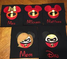 Incredibles Mouse Heads Inspired by THE INCREDIBLES Mr Ms Girl Boy Boy (Mix Match) Embroidered and Appliqued T-Shirt for the Family