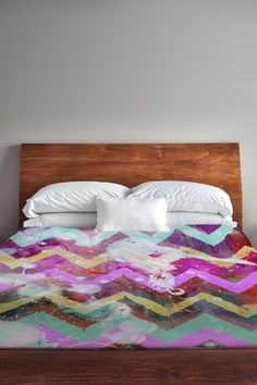 Oliver Gal by One Bella Casa Text Message Chevron - Multi Duvet Cover by Lightning E-Commerce on @HauteLook