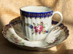 Early Worcester 18th C Rare Crescent Mark Dr Wall Fluted Cup Saucer Bow Arrow #CupsSaucers