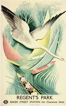 Frank Ormrod (1896-1988), 1937, Regent's Park, London Transport. Vintage travel poster. Swan and Rowers. #Crew #Rowing