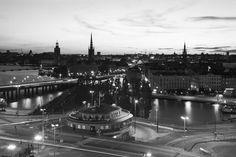 Stockholm Söder Södermalm Svartvit fototapet/tapet från Happywall