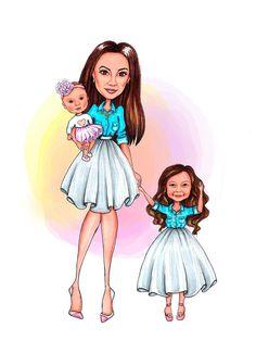 Custom cute illustration Full-length portrait mother with