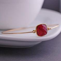 georgiedesigns - Gold Ruby Gemstone Bangle, Gold Bangle Bracelet Gift, Gold Ruby Bracelet, Ruby Jewelry