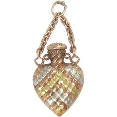 Heart shaped Perfume Bottle Pendant14 Kt Gold Vintage -- found at www.rubylane.com #vintagebeginshere