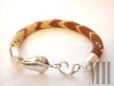 Bransoletka z koralików - ecru i brąz   MH Biżuteria - cuda ręcznie wykonane