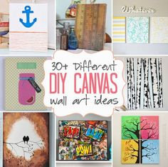 DIY Canvas Wall Art Ideas: 30+ canvas tutorials posted by Amanda Formaro...DIY canvas wall art ideas, whether it's painting on canvas, dabbling in mixed media, or mod podging scraps of paper, there are plenty of wall art tutorials out there. We've put together more than 30 ways to decorate a canvas on your own.