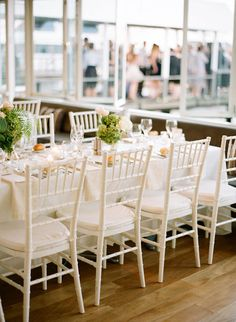 White Tiffany Chairs From Bride Groom