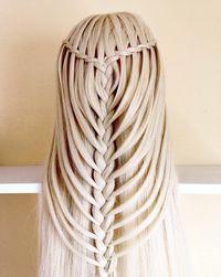 mermaid colored hair | Stunning prom & party waterfall braid hairstyles on matte blonde hair