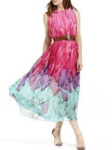 Printed Delightful Cowl Neck Maxi Dress