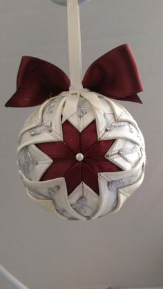 Items similar to Christmas Quilted Ornament/Two Baby Angels ornament/ white and burgundy Christmas tree decoration/ quilted ball on Etsy Diy Quilted Christmas Ornaments, Folded Fabric Ornaments, Christmas Sewing, Christmas Fabric, Handmade Ornaments, Christmas Baubles, Diy Christmas Ornaments, Christmas Tree Decorations, Handmade Christmas