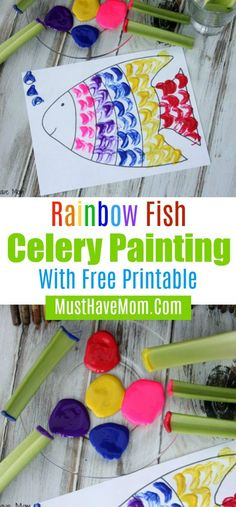 Rainbow fish celery painting with free printables. Perfect for those rainy summer days. Rainbow Fish Activities, Rainbow Fish Crafts, Toddler Crafts, Preschool Activities, Preschool Bible, Projects For Kids, Crafts For Kids, Fun Crafts, Art Projects