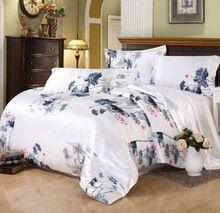 Seda textil para el hogar sábana funda nórdica juego de cama de seda estilo chino elegante ropa de cama de lujo juego de cama de seda de la boda sábana conjunto(China (Mainland))