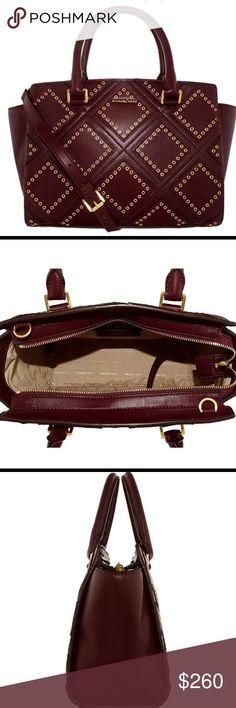 Brand New Michael Kors Selma Gorgeous studded MK Selma Satchel. Zipper top. Dust bag included. Beautiful plum color Michael Kors Bags Satchels