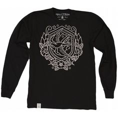 Nautical Swallow: Unisex Organic Fine Jersey Long Sleeve T-Shirt in Black