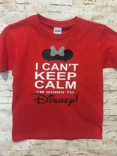 Who wouldnt be excited to be going to Disney?!?! Share your excitement with this shirt. Mickey or Minnie Ear Hats are available. Please be