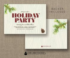 Holiday Party Invitation Christmas Evergreen Pinecone Office Party Woodgrain Faux Bois FREE PRIORITY SHIPPING or DiY Printable - Tarvis Style by digibuddhaPaperie Available at digibuddha.com
