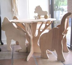 Fancy - Childrens Furniture Set by Palomas Nest -Natural Wooden Animal Chair and Tree Table Nursery Furniture, Plywood Furniture, Kids Furniture, Furniture Sets, Modern Furniture, Furniture Design, Furniture Dolly, Furniture Cleaning, Futuristic Furniture