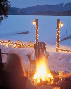 Cozy bonfire at night.  Warm up and relax with friends.  One of my favorite things to do here.  #LoveLakePlacidLodge