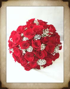 Roses and brooch bridal bouquet  by garden gate, Yorba Linda