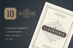 10 Vintage invitations volume 1 by Vasya Kobelev on Creative Market