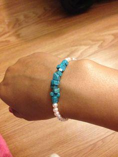 Another homemade bracelet I made. loving it! Homemade Bracelets, Pink Pearls, Pink Turquoise, Turquoise Bracelet, Beaded Bracelets, Jewelry, Fashion, Moda, Jewlery