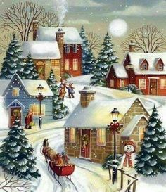 Autone Christmas Snow Scene DIY Full Diamond Embroidery Painting Cross Stitch Craft Home *** You could get added information at the photo web link. (This is an affiliate link). Christmas Past, Winter Christmas, Christmas Crafts, Christmas Decorations, Winter Snow, Christmas Cookies, Christmas Ideas, Illustration Noel, Christmas Illustration