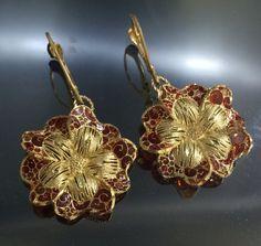 14k Gold earrings with red enamel