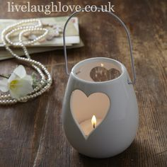 White Ceramic Heart T Light Holder