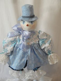 Primitive Snow Lady Art Doll Blue and Silver by MorningMistDesigns