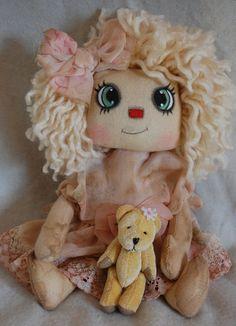Primitive Folk Art Raggedy Ann Rose doll by OCRPrimitiveArts, $40.00
