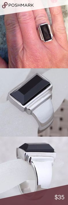 Mens Stainless Steel & Black Agate ring size 7 NWT Mens Stainless Steel & Black Agate ring size 7 Accessories Jewelry