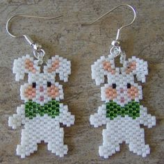 Stuffed Bunny Earrings Hand Made Seed Beaded via Etsy